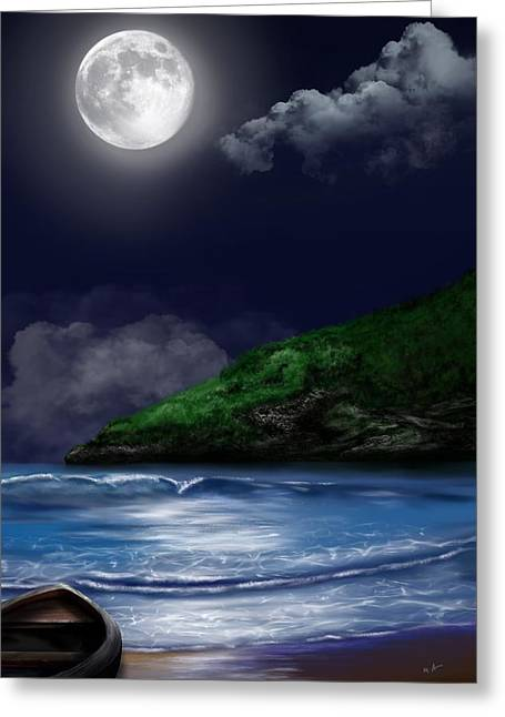 Greeting Card featuring the digital art Moon Over The Cove by Mark Taylor