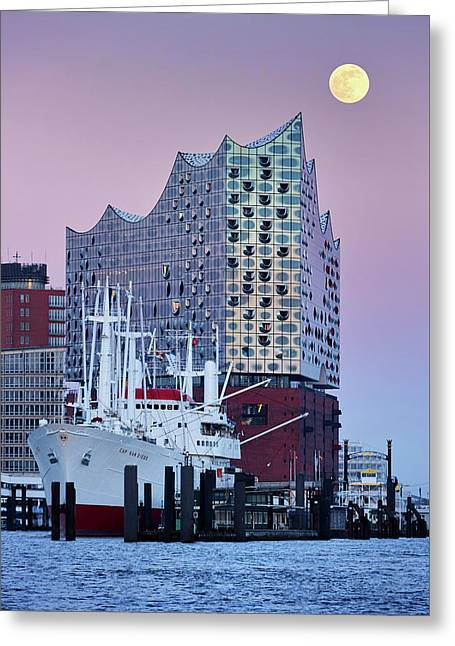 Moon Over The Elbe Philharmonic Hall Greeting Card