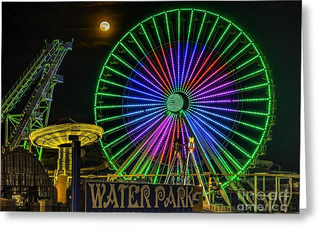 Moon Over The Ferris Wheel Greeting Card