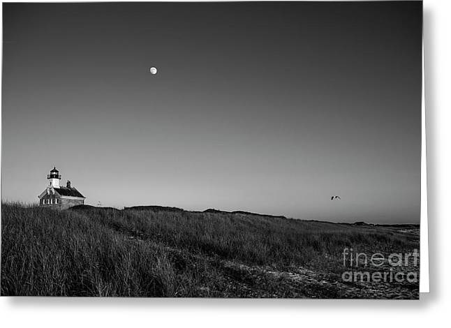 Moon Over The North Light Greeting Card
