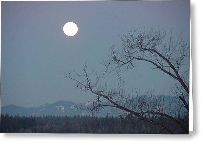 Moon Over The Olympics Greeting Card by Gregory Smith