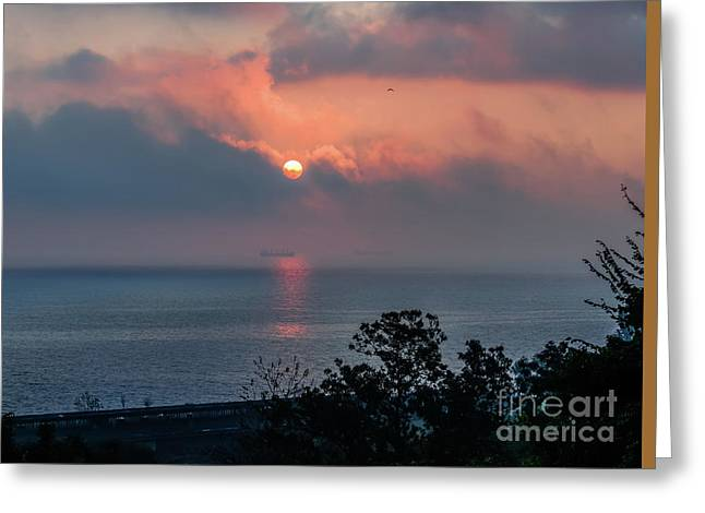 Moon Over The Sea Greeting Card