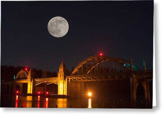 Moon Over The Siuslaw Greeting Card