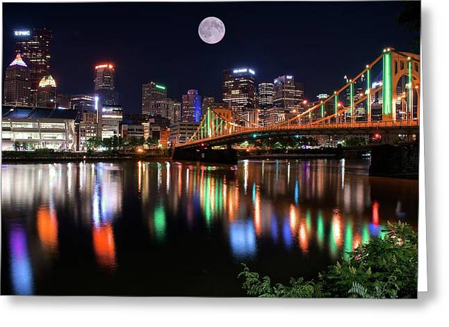 Moon Over The Steel City Greeting Card