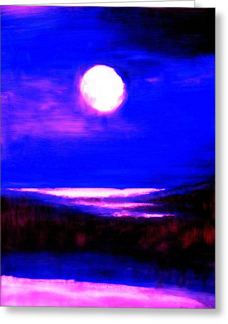 moon over the Stillwater river  Greeting Card