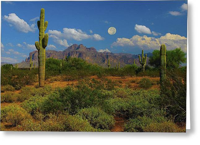 Moon Over The Superstition Mtn Greeting Card