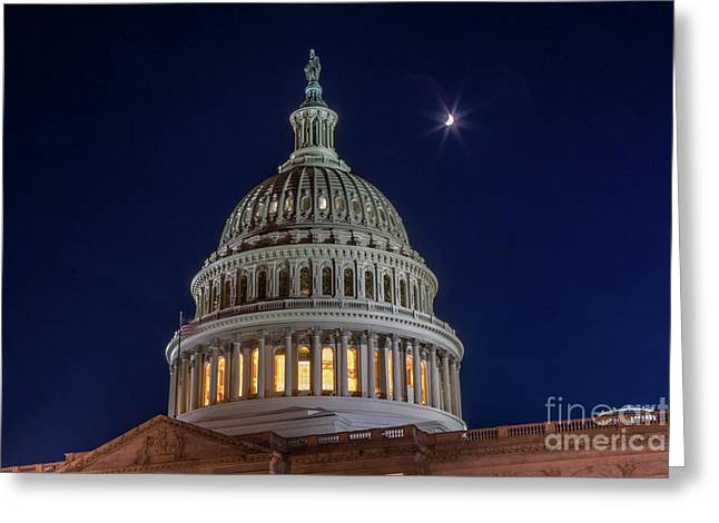 Moon Over The Washington Capitol Building Greeting Card