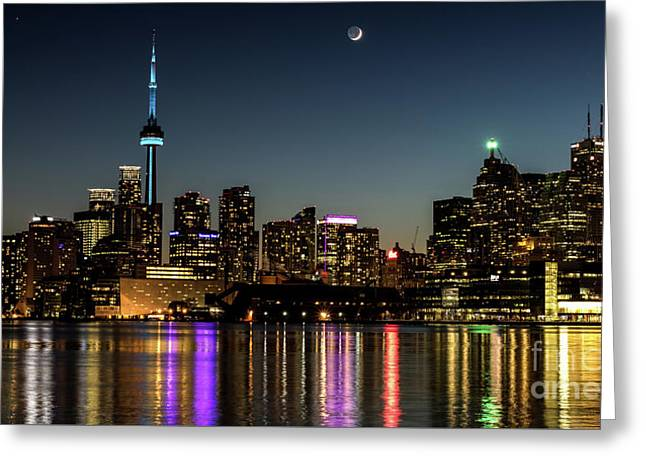 Moon Over Toronto Greeting Card