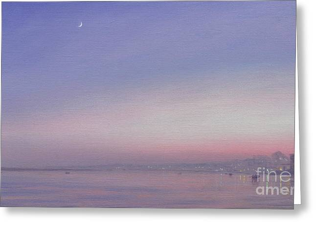 Moon Over Varanasi Greeting Card by Derek Hare