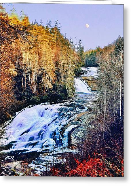 Moon Over Triple Falls Greeting Card