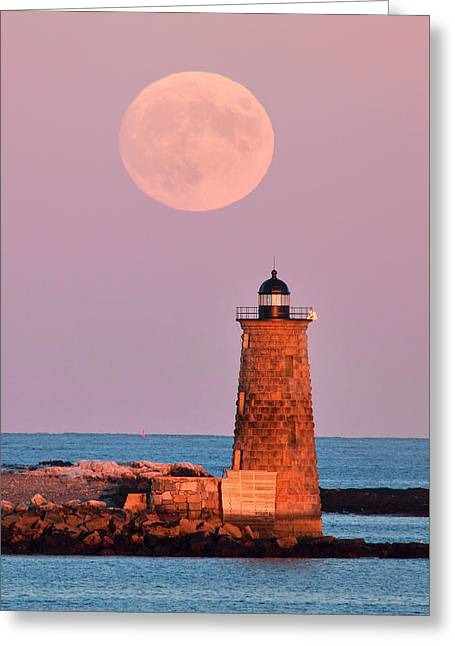 Moon Over Whaleback Greeting Card by Eric Gendron