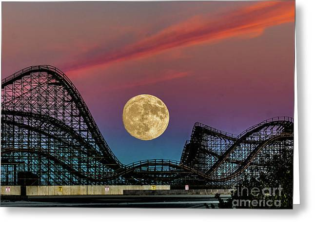 Moon Over Wildwood Nj Greeting Card by Nick Zelinsky