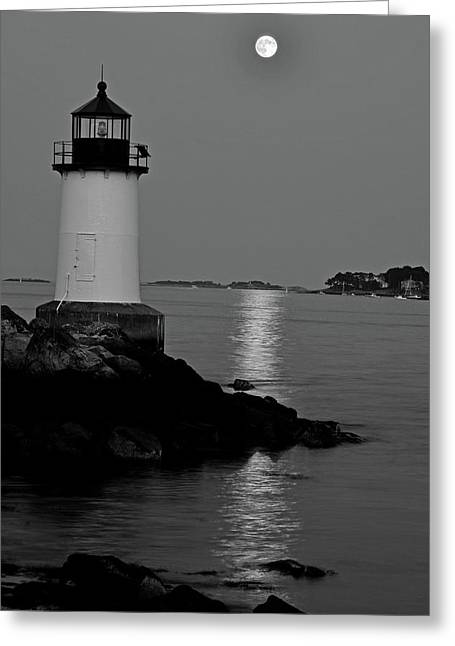 Moon Over Winter Island Salem Ma Black And White Greeting Card by Toby McGuire