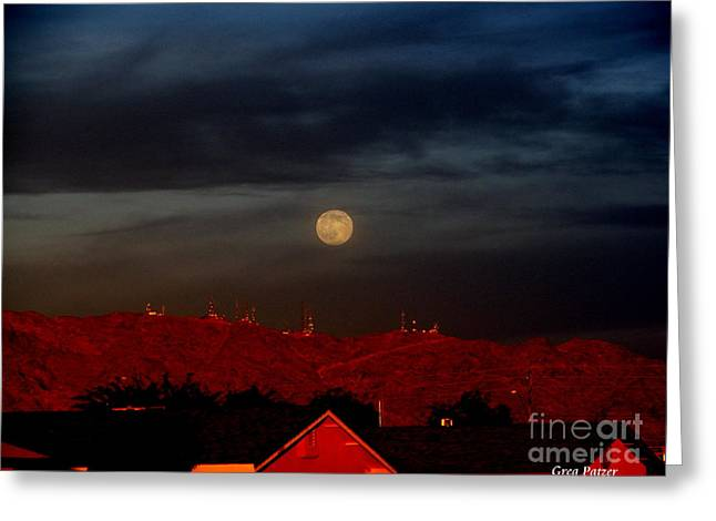 Moon Over Yuma Greeting Card by Greg Patzer