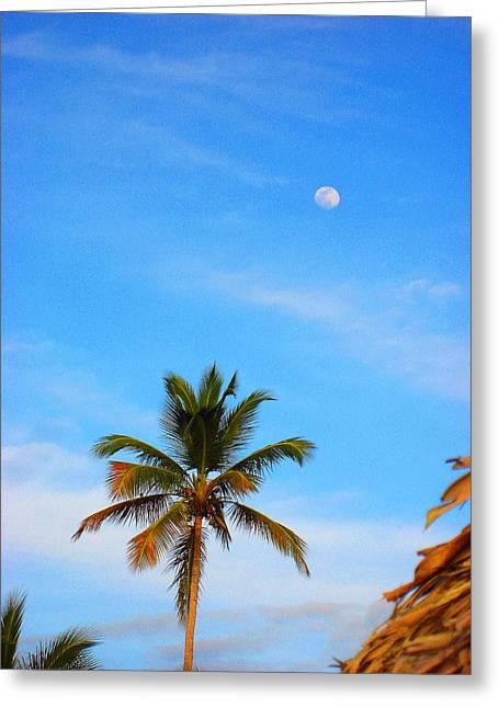 Moon. Palma. Sky. Greeting Card by Andy Za