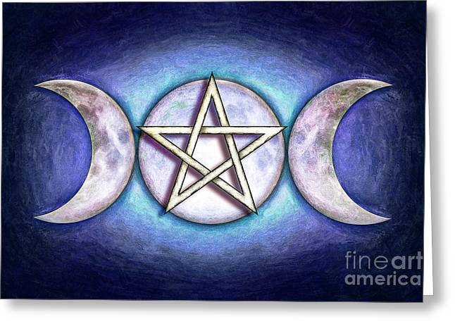 Moon Pentagram - Tripple Moon 1 Greeting Card by Dirk Czarnota