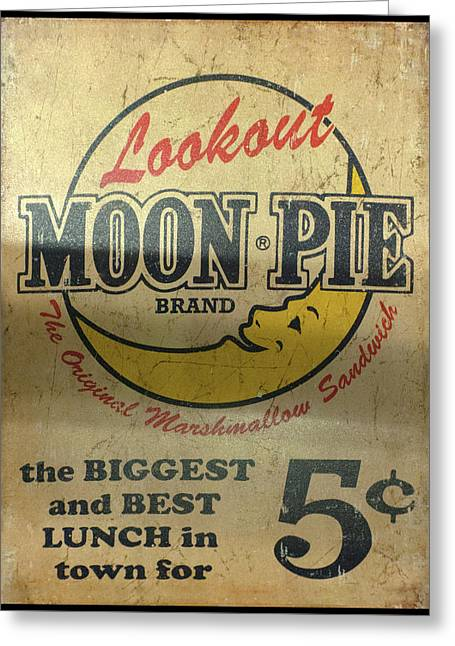 Greeting Card featuring the photograph Moon Pie Antique Sign by Chris Flees