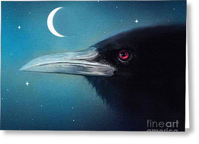 Moon Raven Greeting Card by Robert Foster