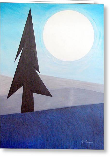 Greeting Card featuring the painting Moon Rings by J R Seymour