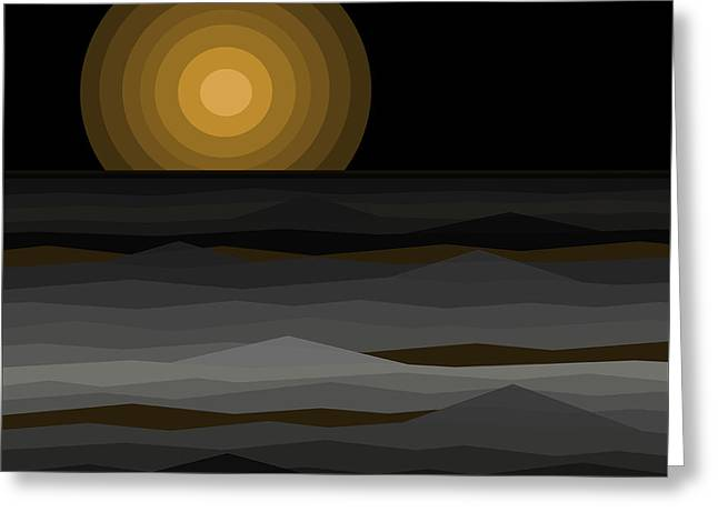 Moon Rise Abstract - Black And Gold Greeting Card by Val Arie