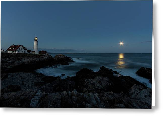 Moon Rise At Portland Headlight Greeting Card