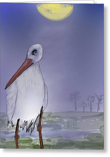 Moon Rise Becomes A Stork Greeting Card