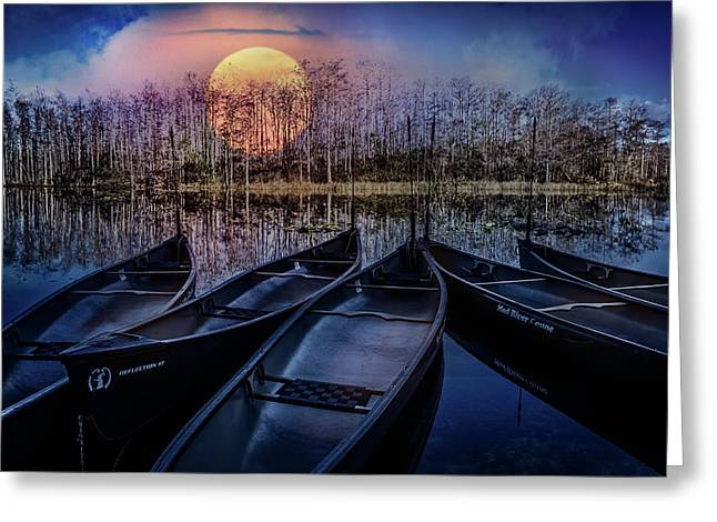 Greeting Card featuring the photograph Moon Rise On The River by Debra and Dave Vanderlaan