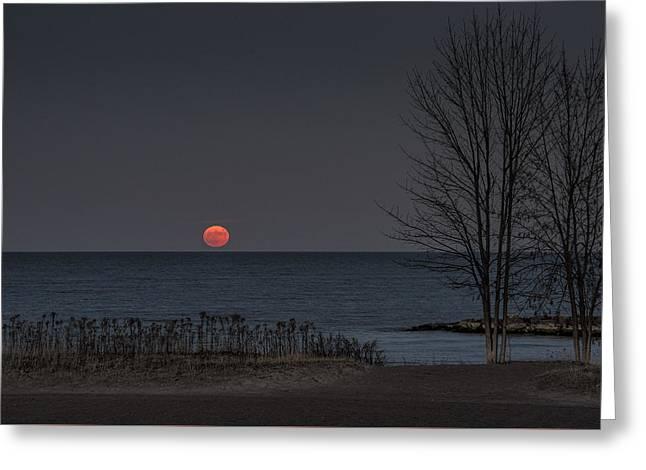 Moon Rise Over Lake Ontario Greeting Card