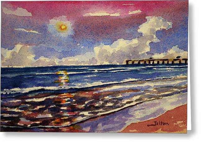 Moon Rise Over The Ocean 7-8-2017 Greeting Card