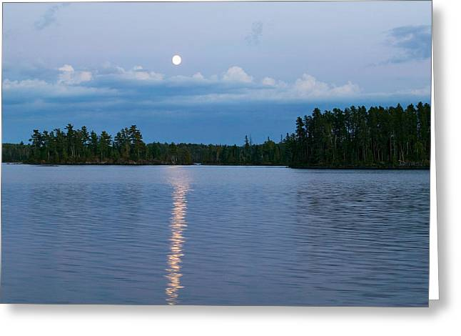 Moon Rising Over Lake One, Water Greeting Card