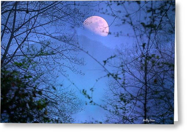 Moon Rising Over Mountain Greeting Card by Molly Dean