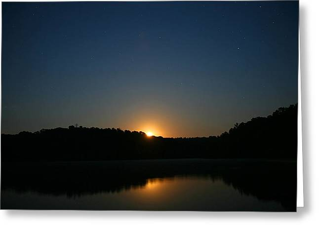Moon Rising Over The Lake Greeting Card by James Jones