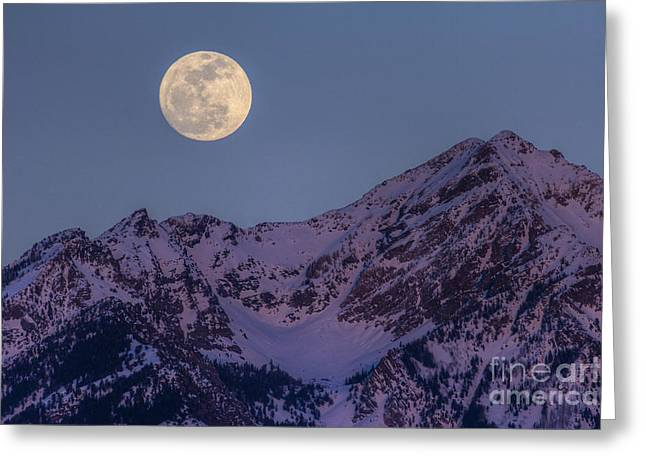 Moon Rising Over Twin Peaks Greeting Card by Spencer Baugh