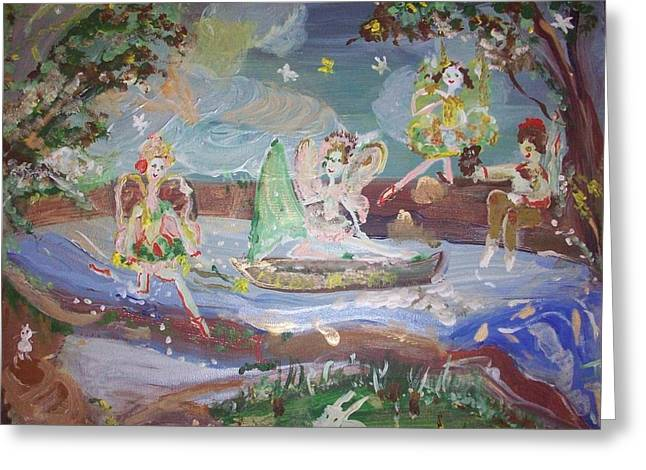 Greeting Card featuring the painting Moon River Fairies by Judith Desrosiers