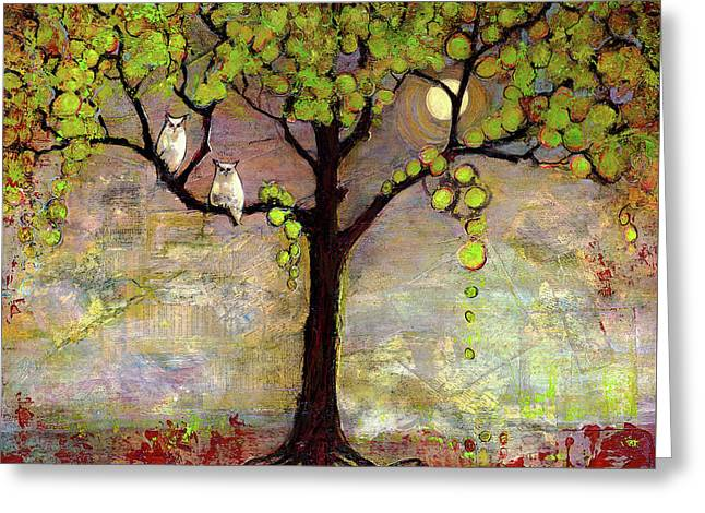 Moon River Tree Owls Art Greeting Card by Blenda Studio