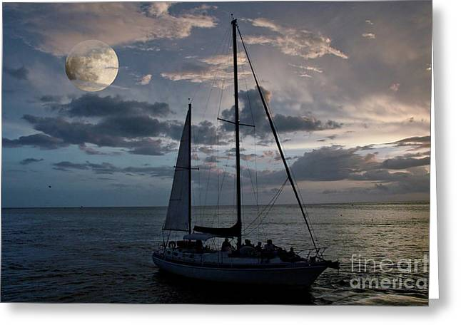 Moon Sail Greeting Card by Digartz - Thom Williams