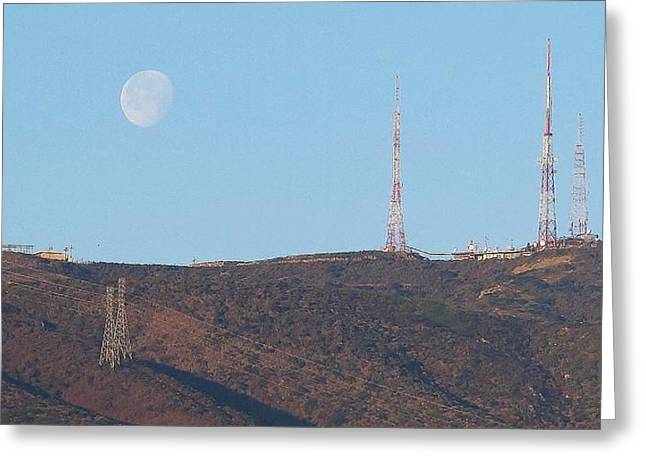 Moon Set San Bruno Mountain Greeting Card