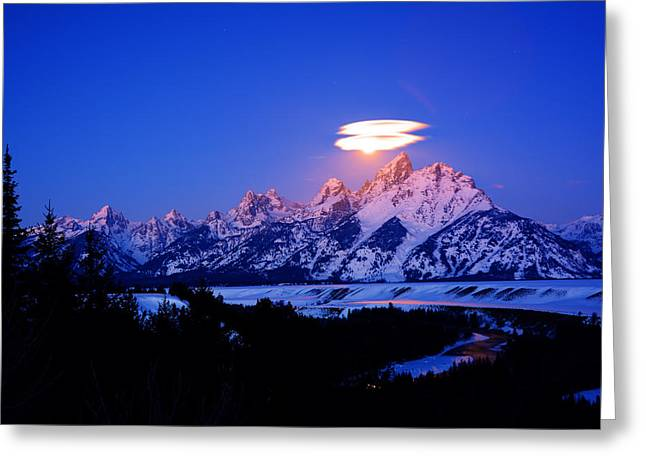 Moon Sets At The Snake River Overlook In The Tetons Greeting Card by Raymond Salani III