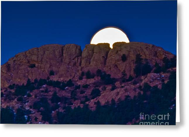 Fort Collins Photographs Greeting Cards - Moon Setting Behind Horsetooth Rock Greeting Card by Harry Strharsky