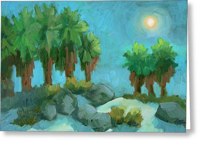 Greeting Card featuring the painting Moon Shadows Indian Canyon by Diane McClary