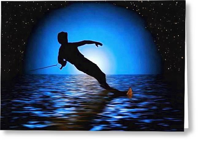 Moon Surfer Greeting Card