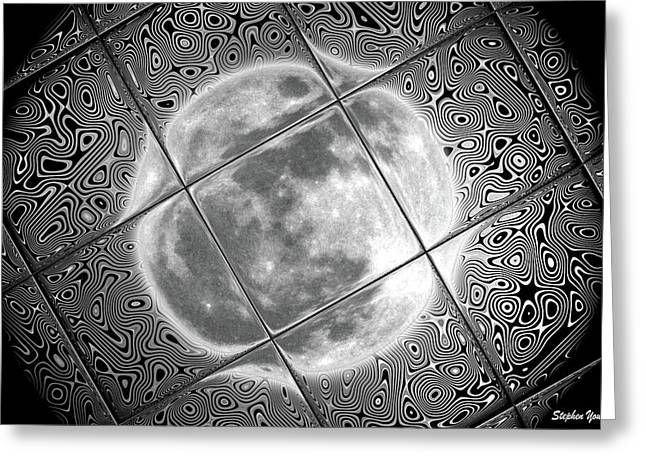 Moon Tile Reflection Greeting Card by Stephen Younts