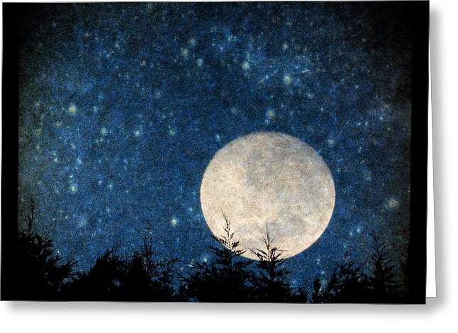 Moon, Tree And Stars Greeting Card