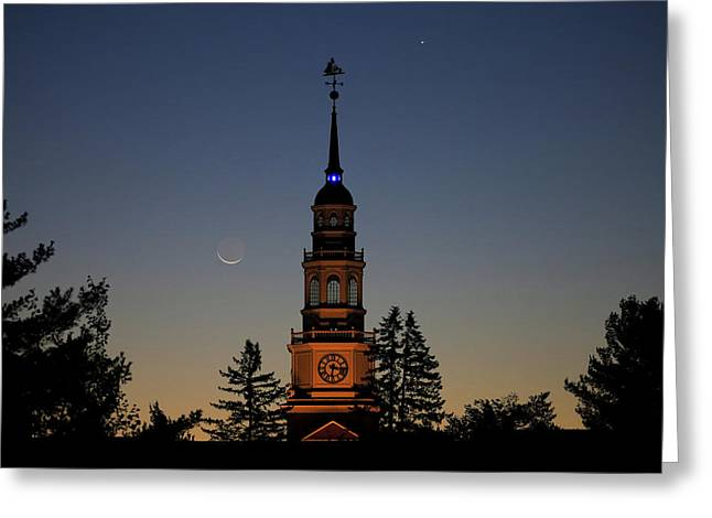 Moon, Venus, And Miller Tower Greeting Card