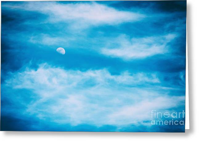 Moon Visible In Blue Sky With White Soft Clouds Greeting Card by Radu Bercan