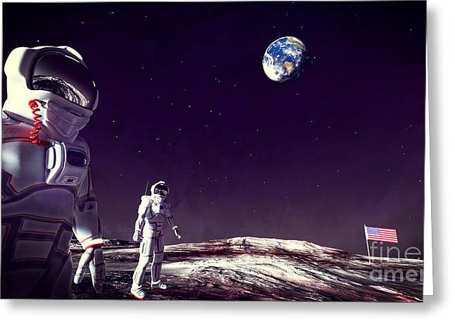 Greeting Card featuring the digital art Moon Walk by Methune Hively