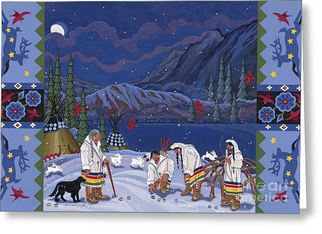 Greeting Card featuring the painting Moon When The Rivers Dream by Chholing Taha