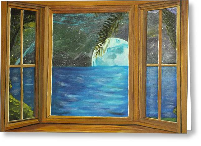 Moon Window Greeting Card by David Bigelow