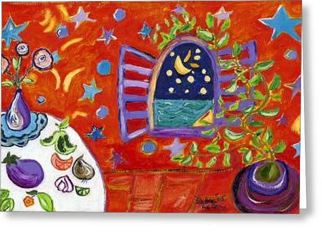 Moon Window Greeting Card by Debra LaBar