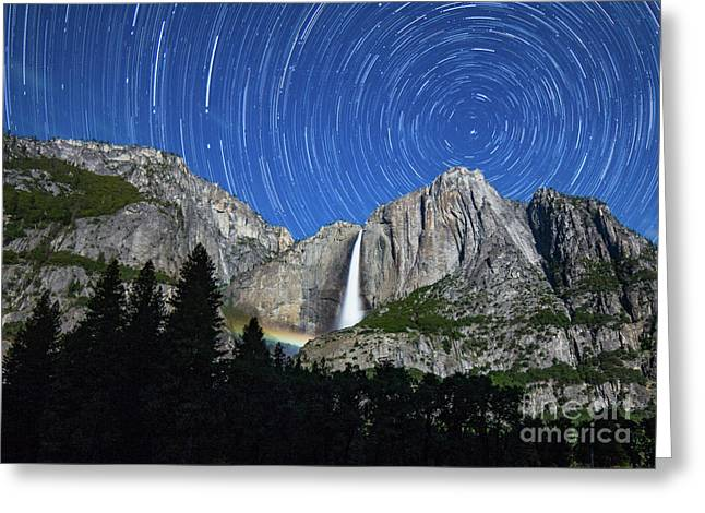 Moonbow And Startrails  Greeting Card
